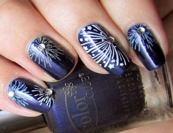 Rhinestone Blue Fireworks Nails Art for 4th July