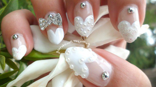 Romantic Wedding Bow Nail Designs 2016