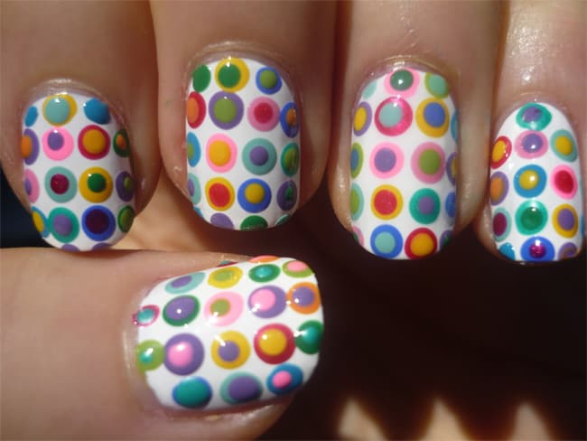 Stylish Funky Polka Dot Nail Art for Girls 2016