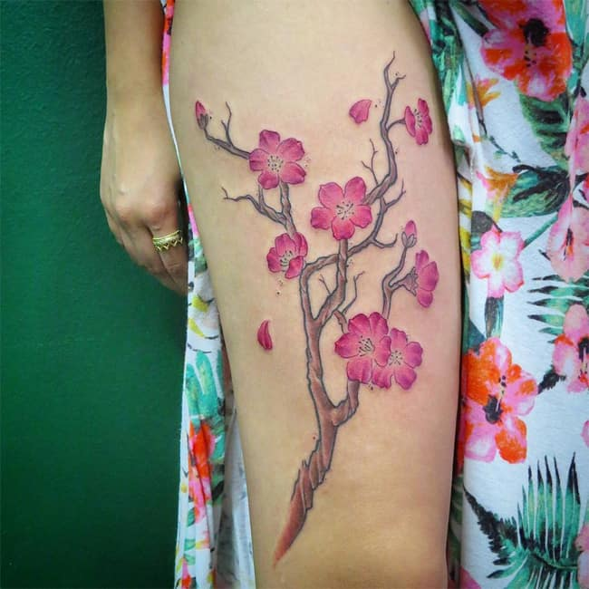 Thigh Cherry Blossom Tattoo Meanings for Girls
