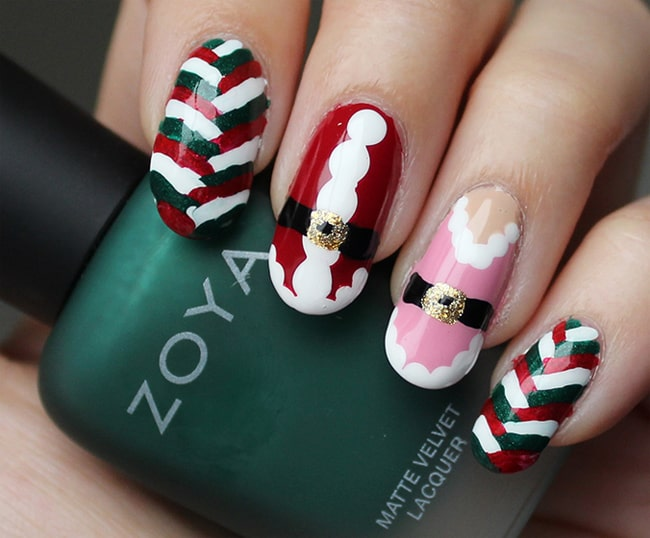 Trendy Freehand Holiday Nail Design Pictures