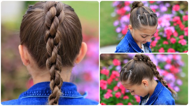Triple Twisted Ponytail Hairstyles for School Girls