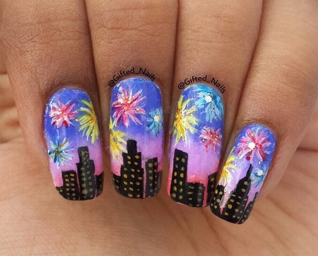 Wonderful Celebration Nail Art Ideas 2018 - 20 Romantic Fireworks Nail Art Designs – SheIdeas