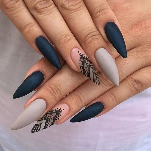 Acrylic Gray Matte Nails Polish Trend for Party