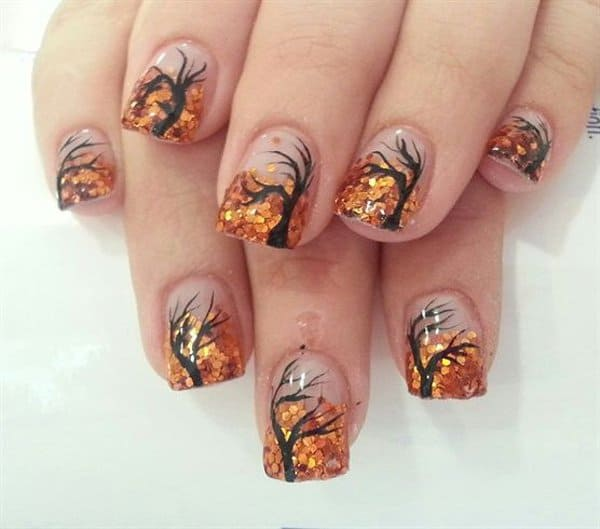 Amazing Fall Tree Nail Art Designs for Girls - 20 Awesome Fall Nail Designs Collection - SheIdeas