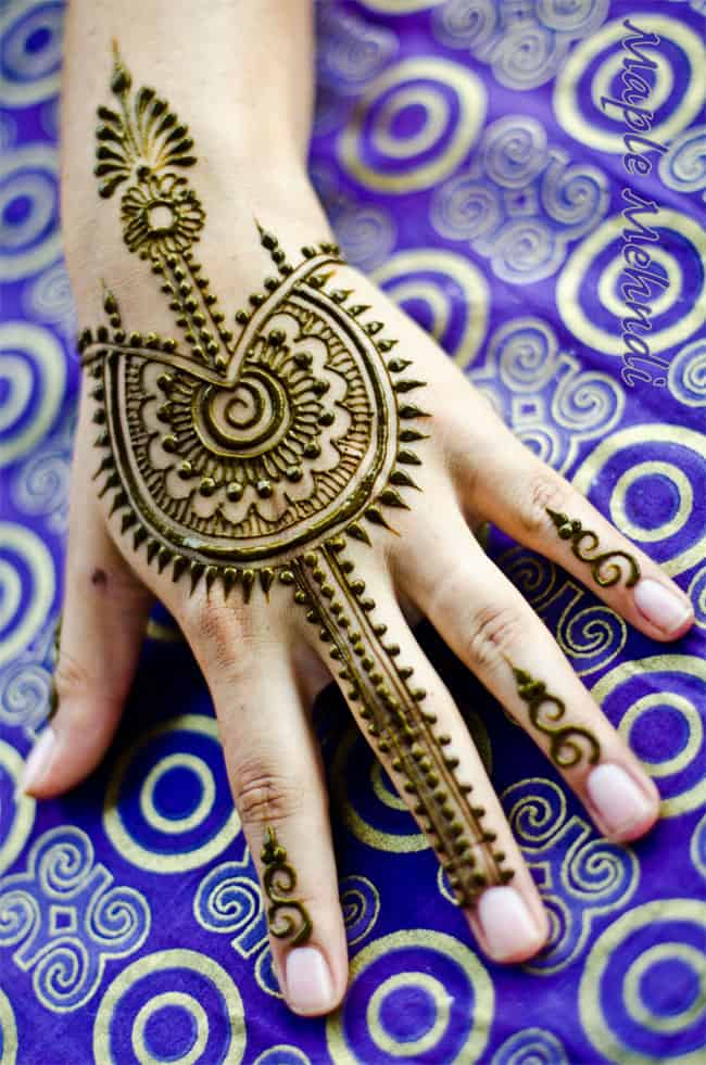 Arabic Back Hand Maple Mehndi Designs for Wedding