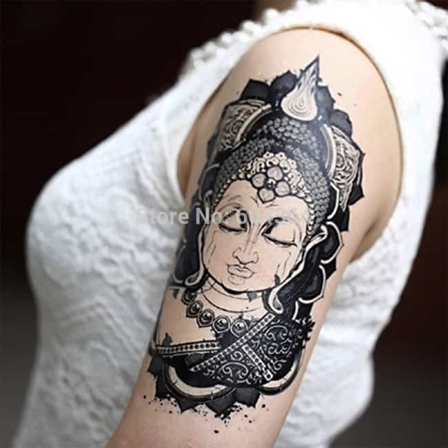 Arm Band Buddha Tattoo Ideas for Women