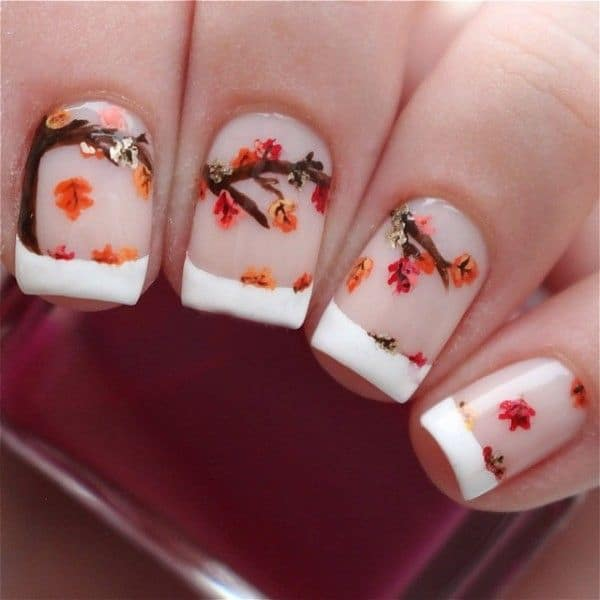 Attractive Falling Leaves Nail Art Ideas 2016