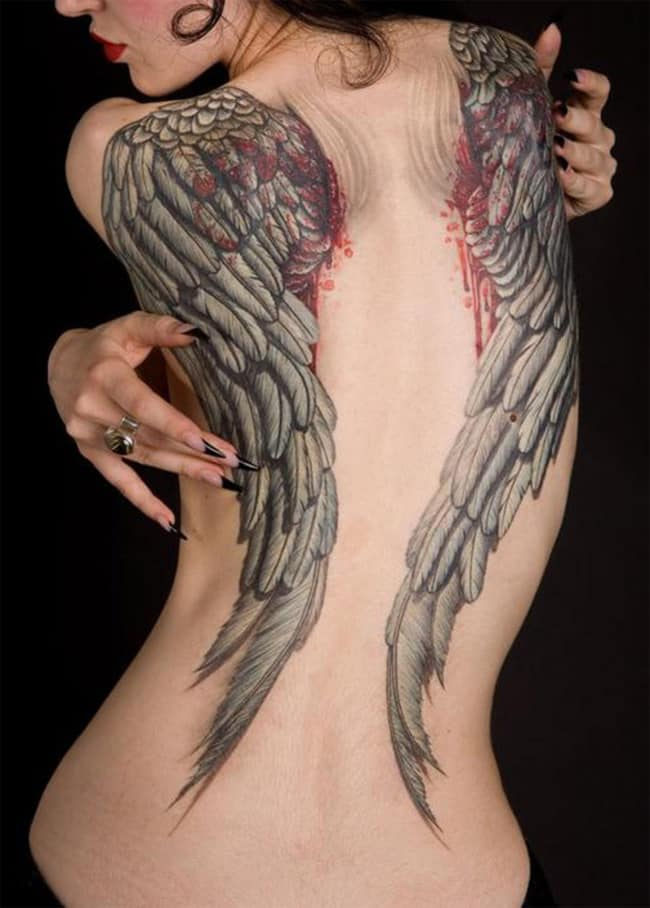 Awesome Angel Wing Tattoos for Women Back