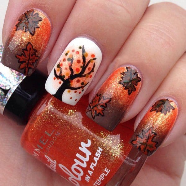 Awesome Fall Inspired Nail Art Design Pictures