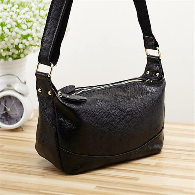 Black Leather Vintage Crossbody Handbag for Women