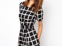 Black and White Fall Dress for Ladies