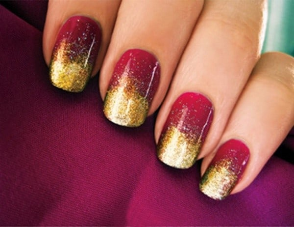 Bridal Maroon and Golden Nail Polish Ideas