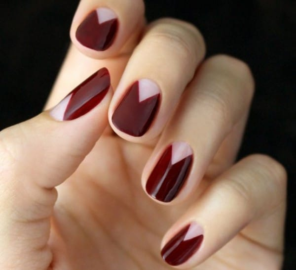 Chevron Half Moons Fall Nail Art Design Images