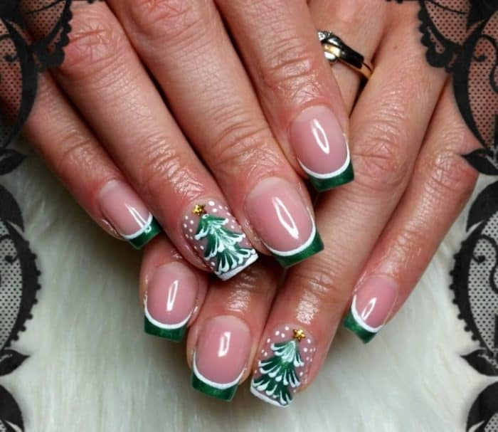 christmas tree french nail designs for girls