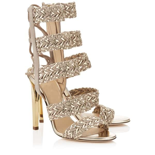 Christmas Weave High Heel Sandals for New Year Party