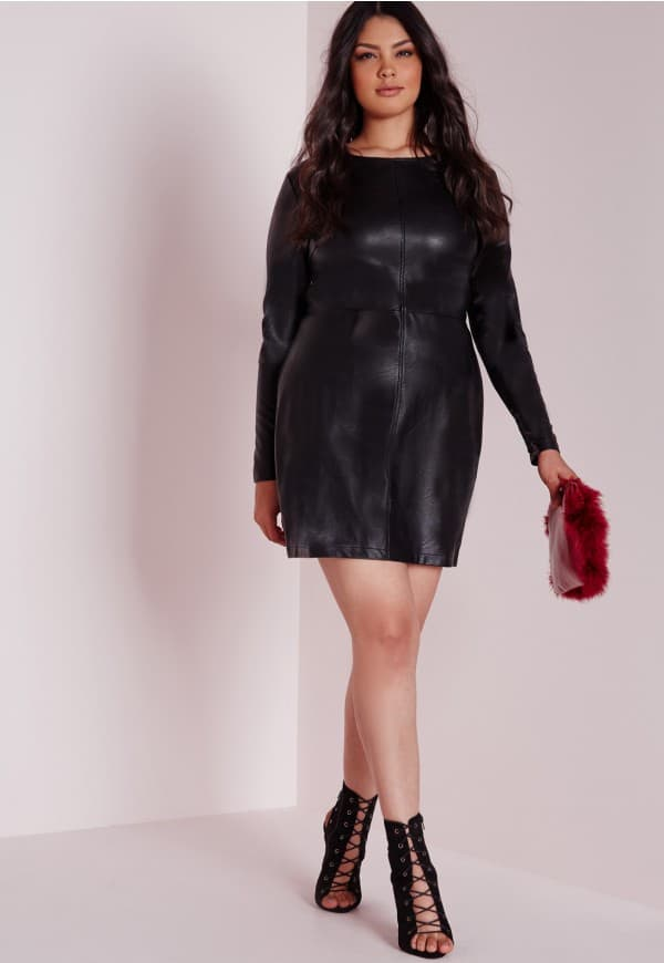 Cool Black Short Leather Dresses for Plus Size