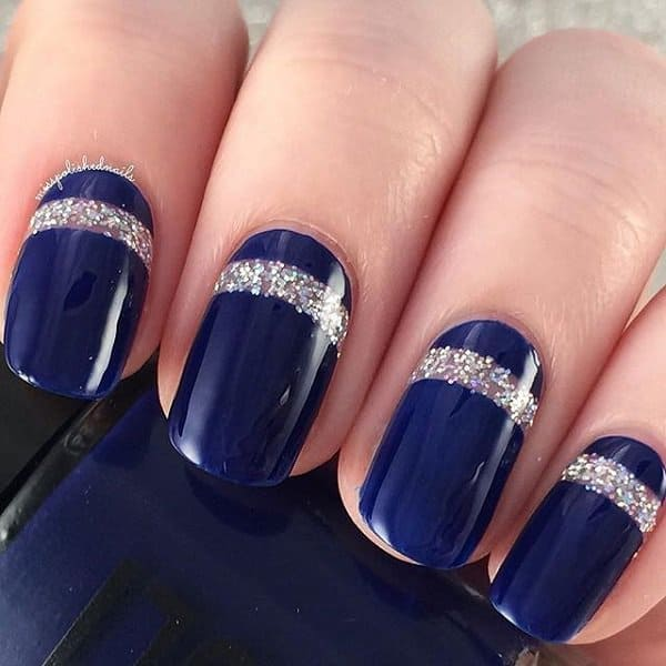 Cool Blue Glitter Metallic Nail Art Designs
