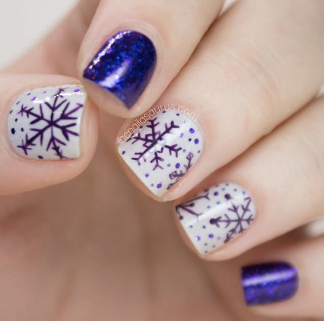 Cool Purple Snowflakes Christmas Nail Art Ideas