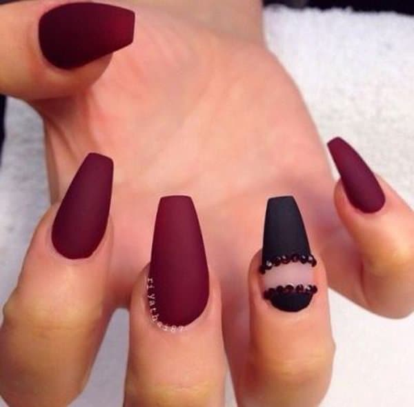 Creative Maroon Coffin Nail Art Ideas