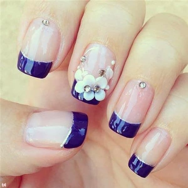 Cute Flower Blue Nail Design Ideas 2016