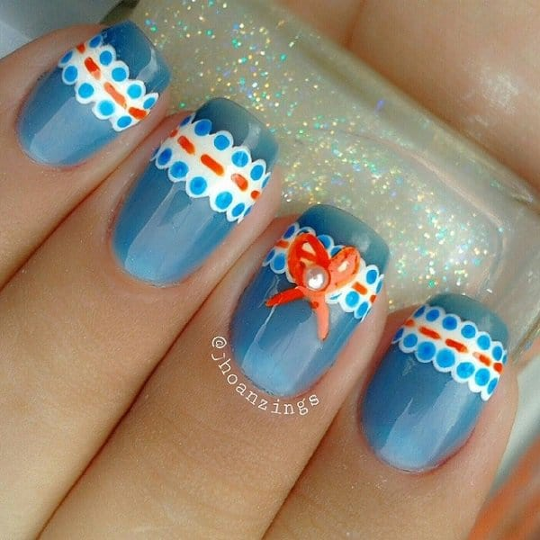 Easy Blue Lace Nail Outline Ideas