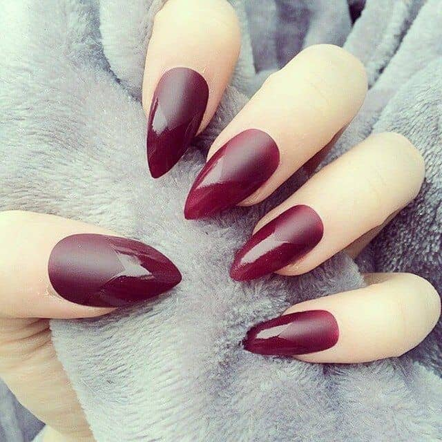 Easy Maroon Stiletto Nails Designs for Women - SheIdeas