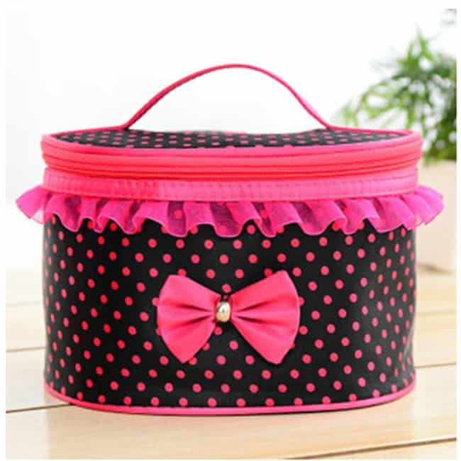 Electrifying Black and Pink Bow Makeup Bag Trend
