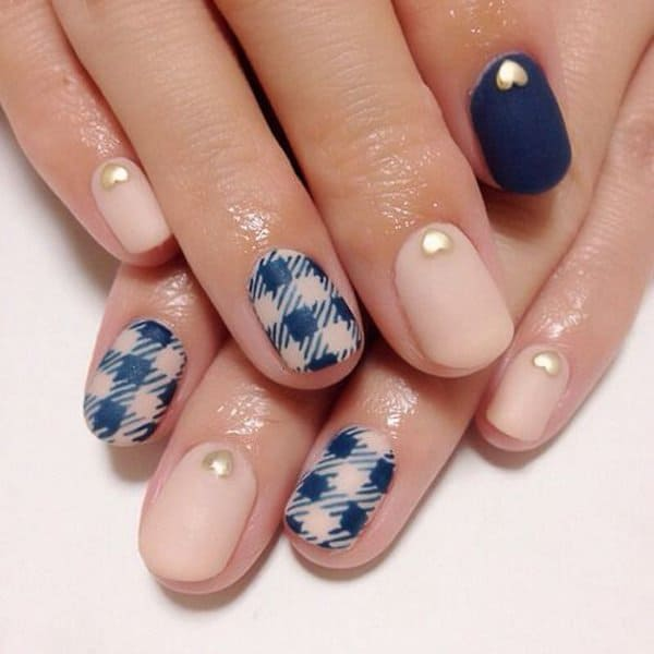 Excellent Gingham and Matte Nail Art Images