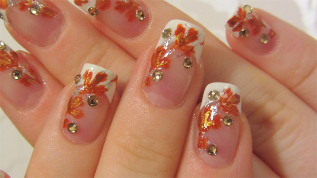 Fall Orange and Gold Leaves Rhinestones Nail Designs
