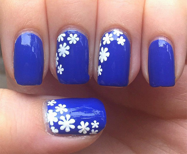 Fantastic Flower Blue Nail Polish Design Photos