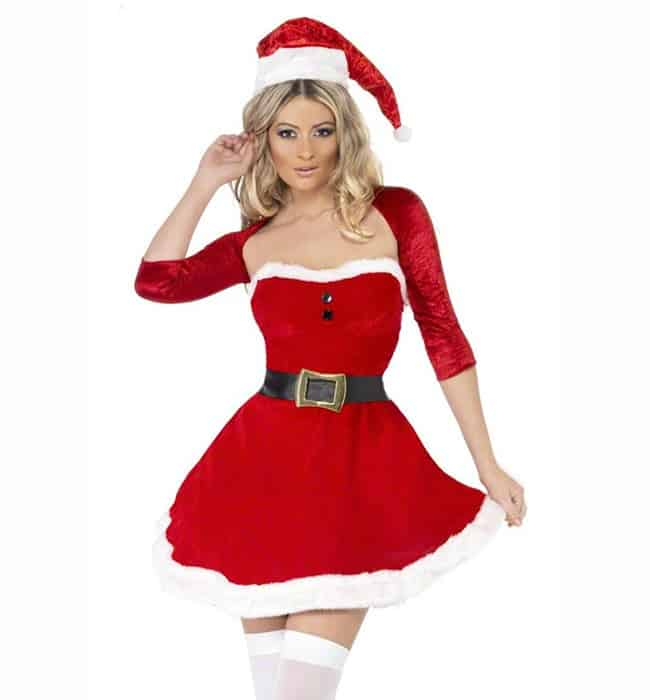 Fluff Strapless Ruched Christmas Clothes for Women