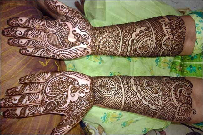 Full Hands Peacock Mehndi Designs for Brides 2016-17