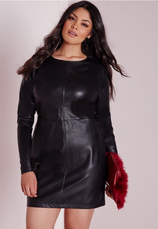 Great Plus Size Black Faux Leather Mini Dress Designs