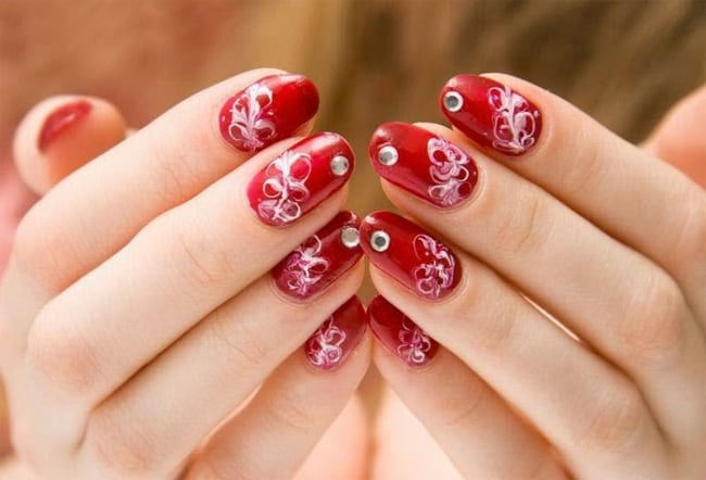 Great Red Christmas Nail Design Art 2016