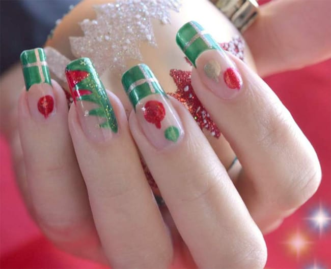 Green Acrylic Christmas Gel Manicure Art Ideas