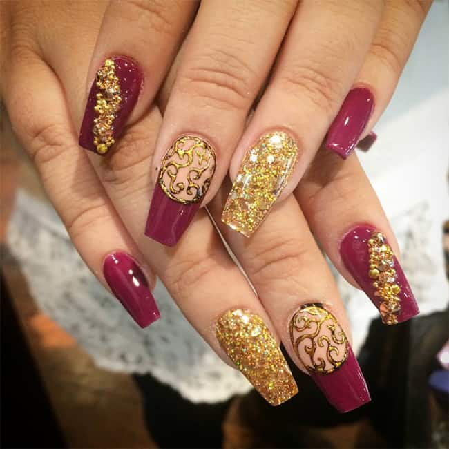 Inspirational Wedding Fall Nail Art Designs