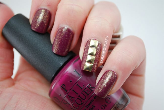 Latest Glitter Maroon Nails Designs With Studs 2016