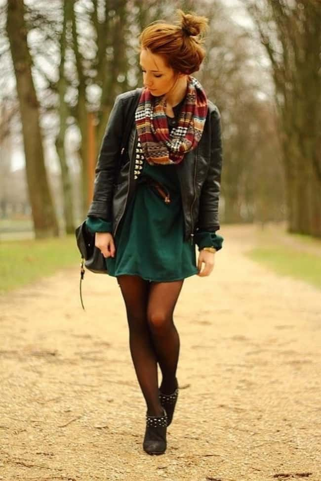 Layered Fall Dresses Outfit for Winter