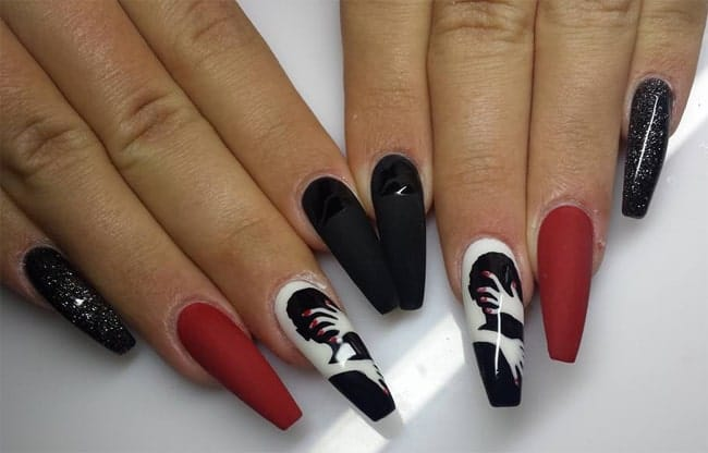 Lovely Black and Red Nail Design for Inspiration