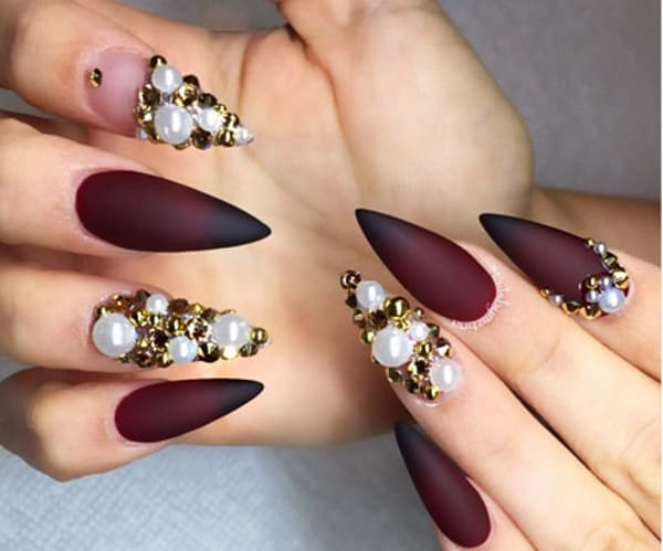 Maroon Matte Nail Design With Pearls Design Ideas