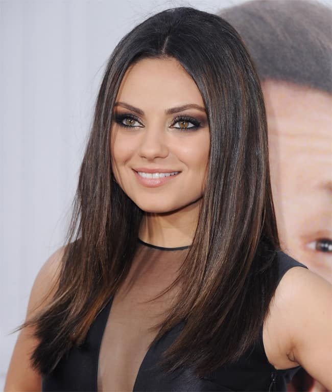 Mila Kunis Round Face Straight Hairstyles for Party