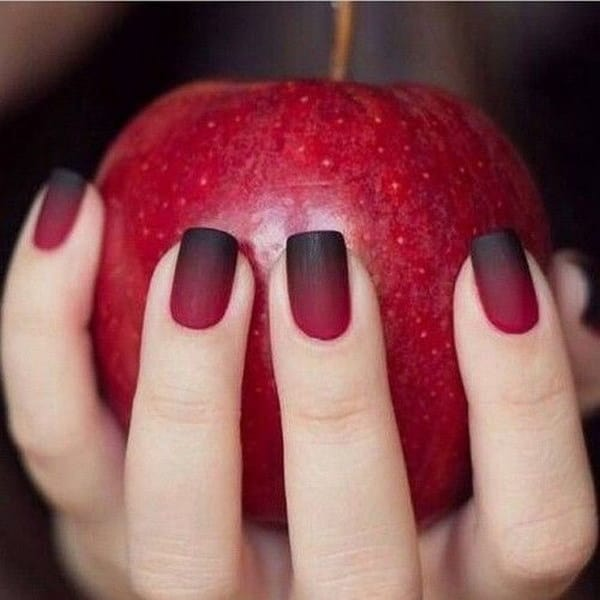 New Ombre Red and Black Matte Nail Designs 2016-17