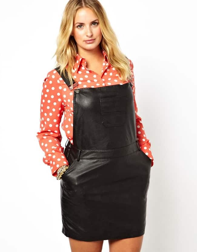 New Plus Size Leather Look Overall Dress for Women