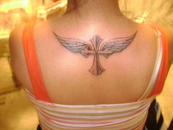 Outstanding Angel Wings Cross Tattoos for Easter