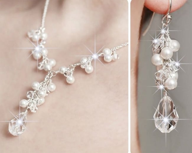 Pearls, Crystals Wedding Jewelry Designs for Brides