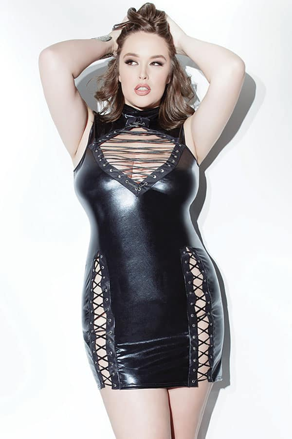Plus Size Lace up Wet Look Leather Dresses for Women