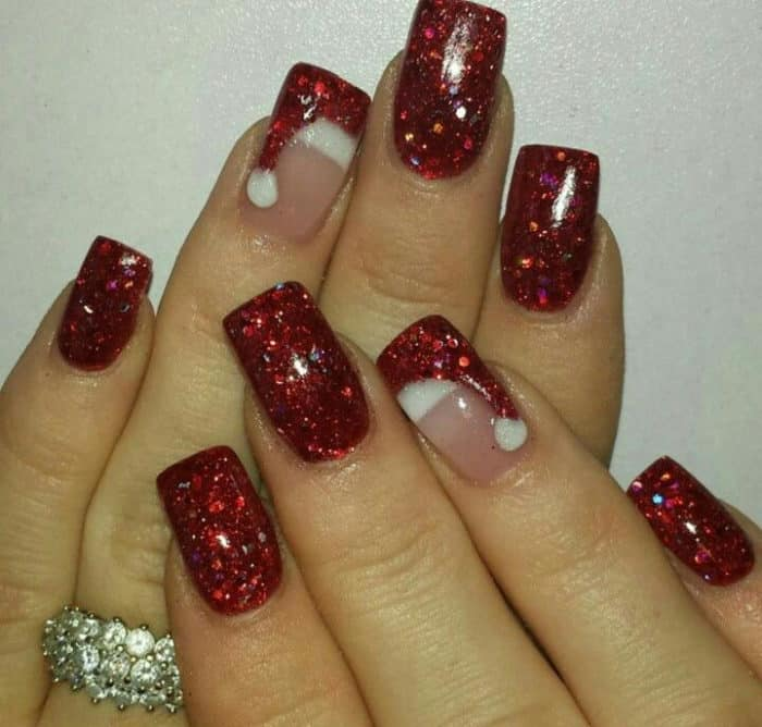 30 attention grabbing christmas nail designs sheideas red glitter christmas nail art gallery prinsesfo Choice Image