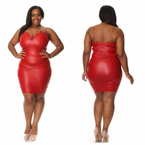 Red Leather Dresses for Plus Size Black Women