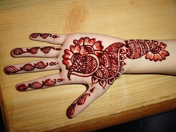 Red Peacock Inspired Mehndi Designs Pictures
